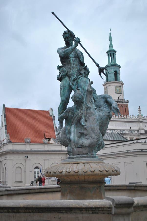 Фонтан Нептуна в Poznan стоковое изображение rf
