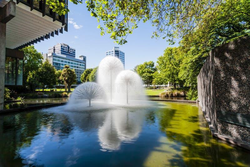 фонтан Новая Зеландия christchurch более ferrier стоковая фотография rf