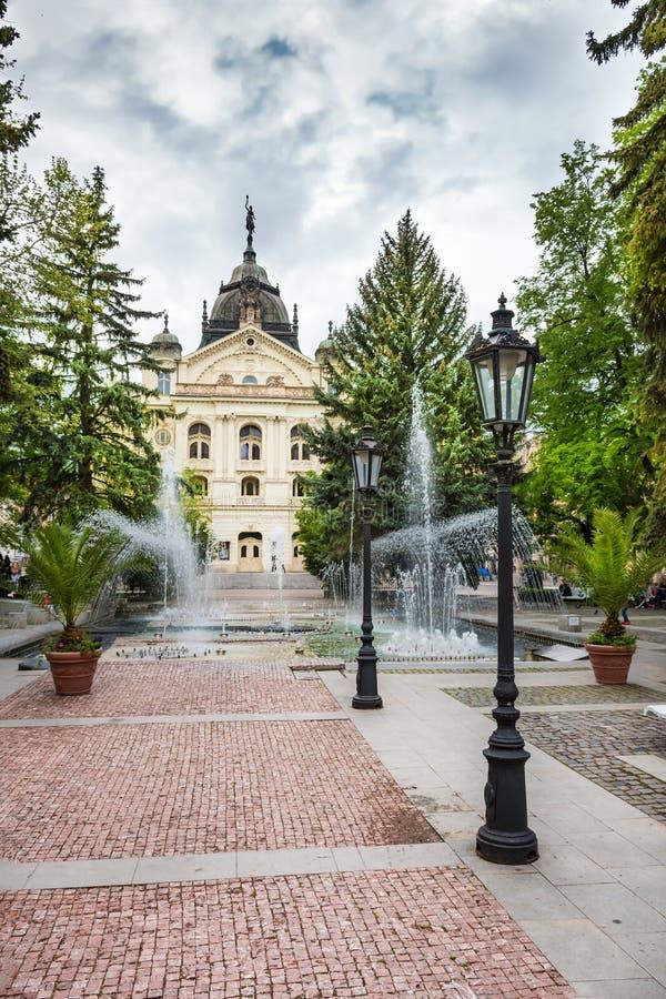 Фонтан петь перед театром государства на главной площади в Kosice СЛОВАКИИ стоковые фото
