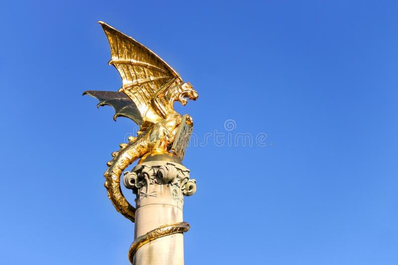 Фонтан дракона золота в голландском городе вертепа Bosch стоковое фото rf