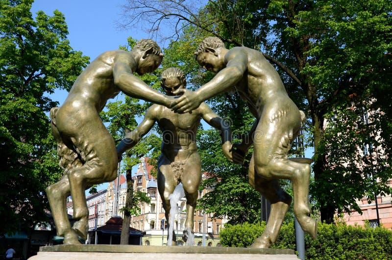 Фонтан с 3 fauns в Гливице, Польше стоковые изображения