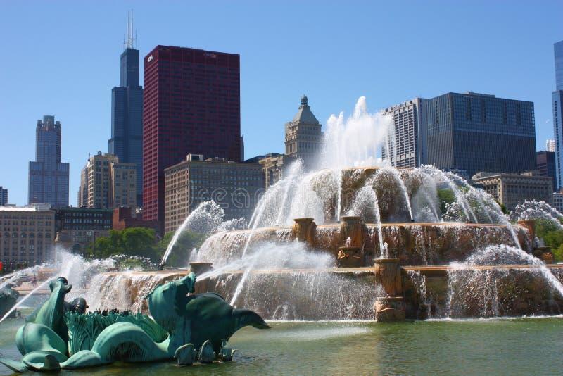 фонтан chicago buckingham стоковая фотография rf