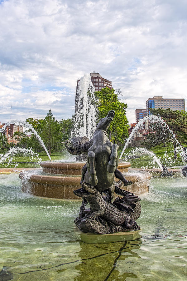 Фонтан JC Nichols, Kansas City Миссури, вода, стоковые фотографии rf