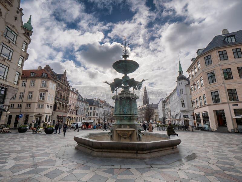Фонтан Storkespringvandet в центре Копенгагена, Дании стоковые фотографии rf
