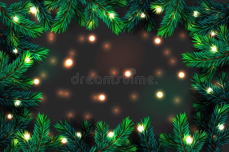 Фон ветвей елки Рождества Фестиваль Xmas граница зеленой ветки сосны с сверкающими огнями гарланд, векторная иллюстрация стоковое фото