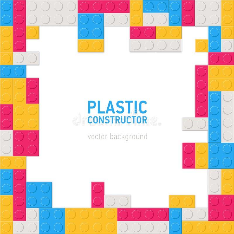 Фон или предпосылка квадрата декоративные с рамкой или границей сделанными пластиковых деталей конструкции, блокируя игрушкой иллюстрация штока