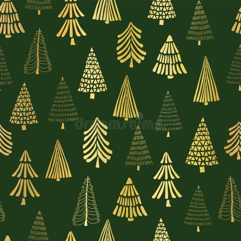 Фон картины вектора рождественских елок doodle сусального золота безшовный Металлические сияющие золотые деревья на зеленой предп иллюстрация вектора