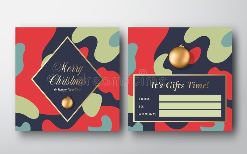 Фон поздравительной подарочной карты Vibrant Colors Christmas Camo Pattern Abstract Vector Greeting Конструкция 'Назад' и 'Констр иллюстрация штока