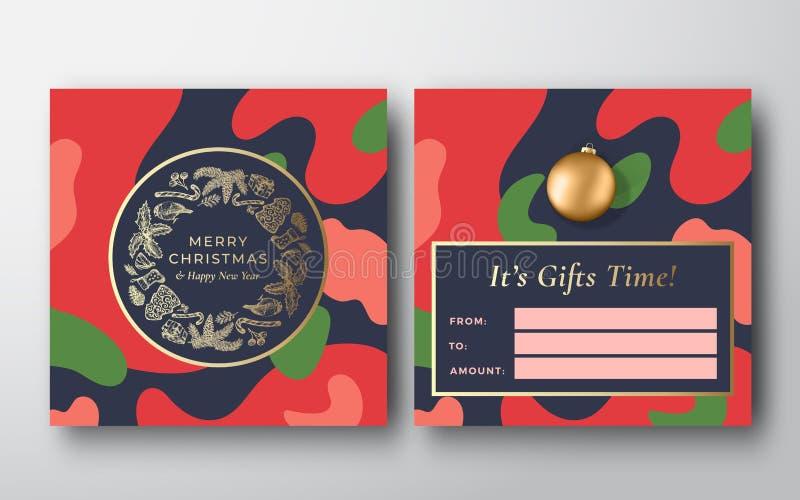 Фон поздравительной подарочной карты Vibrant Colors Christmas Camo Pattern Abstract Vector Greeting Конструкция 'Назад' и 'Констр бесплатная иллюстрация