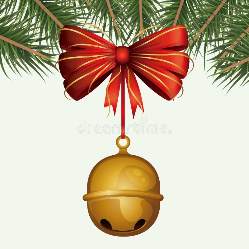 Фон рождества декоративный красочных ветвей сосны и шкентель колоколов звона декоративной ленты на белизне иллюстрация штока