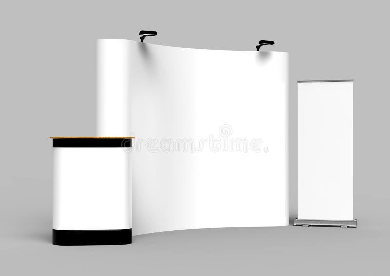 Фон стойки знамени дисплея ткани напряжения выставки для стойки рекламы торговой выставки с СИД ИЛИ света галоида с standees a бесплатная иллюстрация