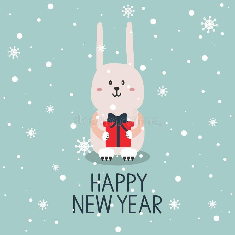 Фон с счастливыми кроликом, подарком, снегом и текстом бесплатная иллюстрация