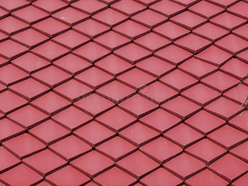 Фон узора крыши крыши красной квадратной глиняной плитки стоковая фотография rf