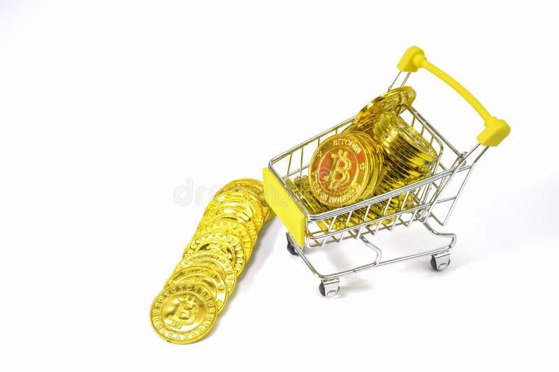Фон электронной валюты монетки Bitcoin белый стоковое изображение