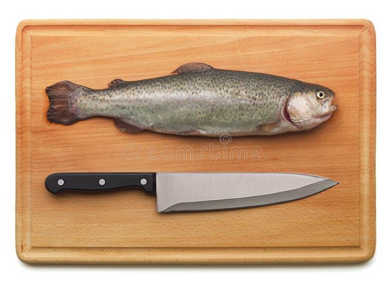 Форель и нож кухни стоковое фото rf