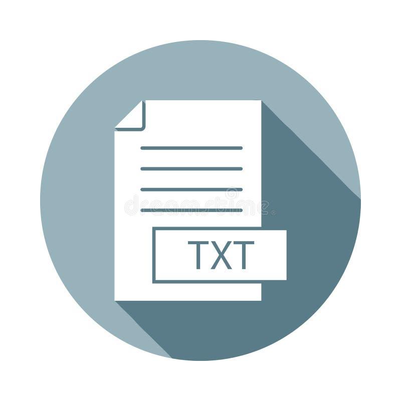 форматируйте значок txt файла в плоском длинном стиле тени Одно значка собрания сети можно использовать для UI, UX иллюстрация штока