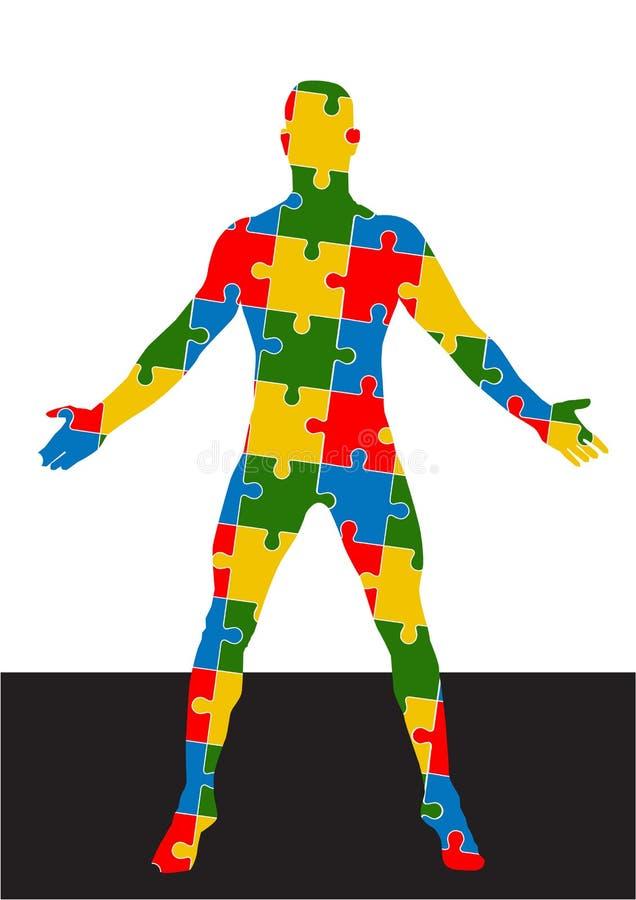 Формат вектора человеческого тела головоломки иллюстрация штока