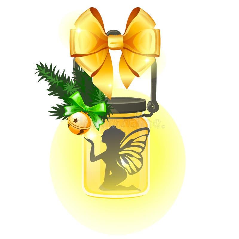 Форма декоративной лампы стеклянного опарника с золотым смычком ленты, ангелом силуэта изолированным на белой предпосылке Попробу иллюстрация штока