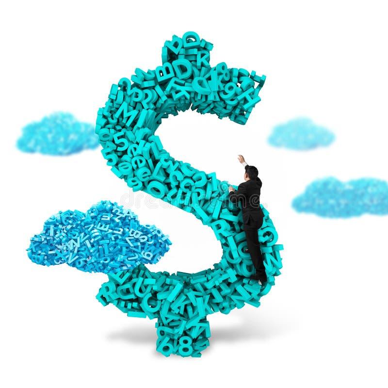Форма денег знака доллара бизнесмена взбираясь, данные по характеров 3d большие стоковая фотография rf