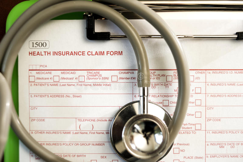 Форма заявки медицинской страховки стоковое фото rf