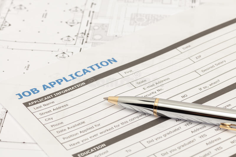 Форма заявления о приеме на работу стоковое фото rf