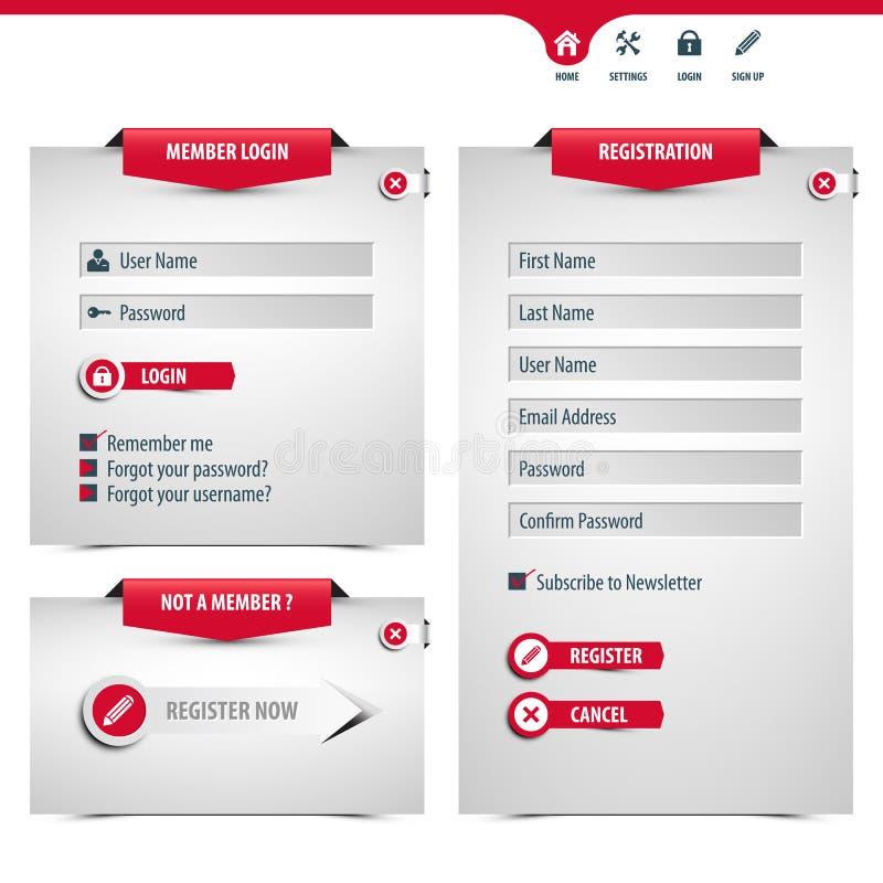 Форма имени пользователя и регистра иллюстрация штока