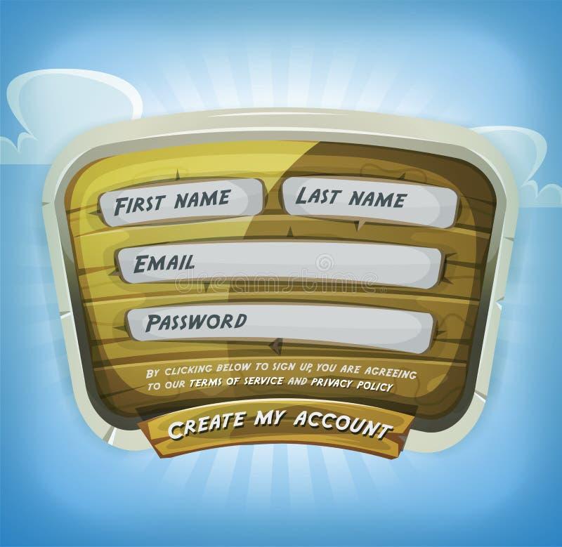Форма имени пользователя на деревянной панели для игры Ui иллюстрация штока