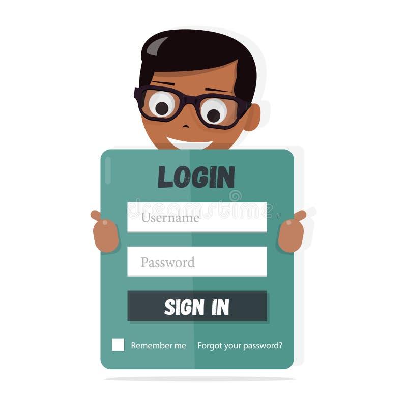 Форма имени пользователя для вебсайта детей Элементы веб-дизайна для детского сада, школ и коллежей Счастливый мальчик задерживая иллюстрация вектора