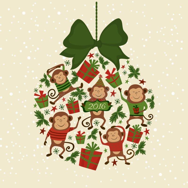 Форма иллюстрации вектора игрушки с обезьянами, символа рождественской елки Нового Года 2016 иллюстрация штока