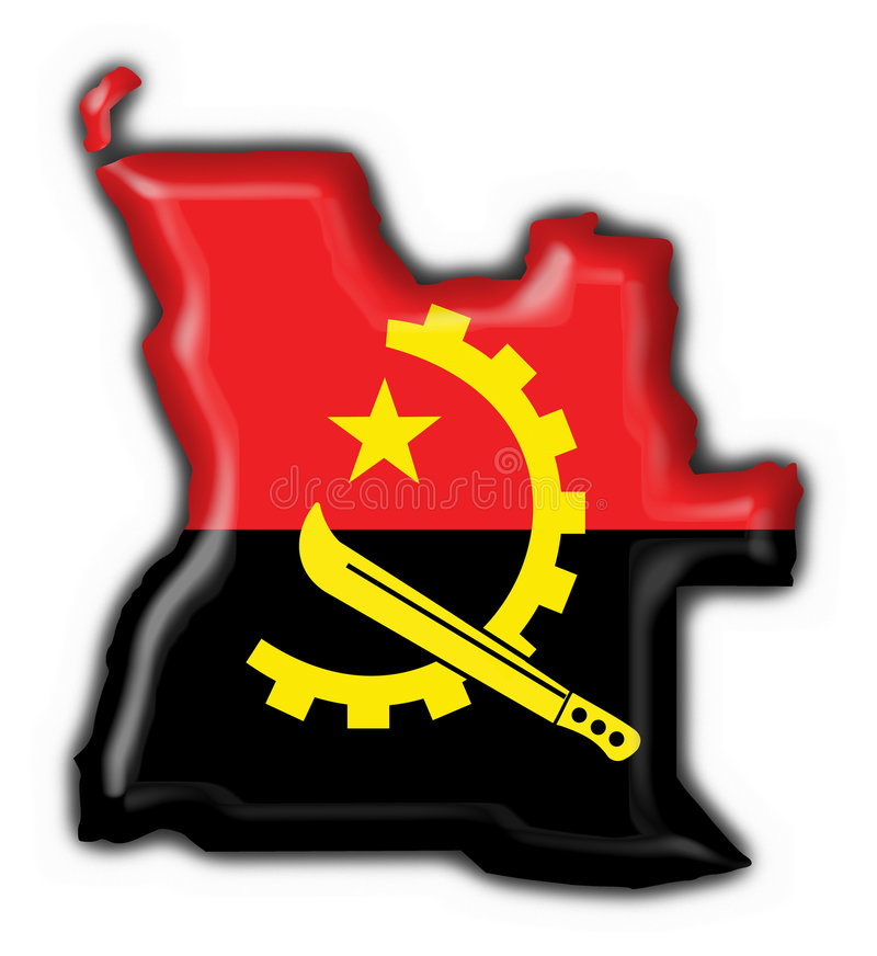 форма карты флага кнопки Анголы иллюстрация штока