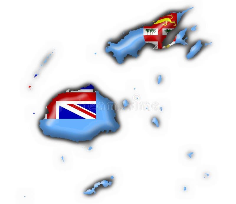 форма карты флага Фиджи кнопки иллюстрация штока