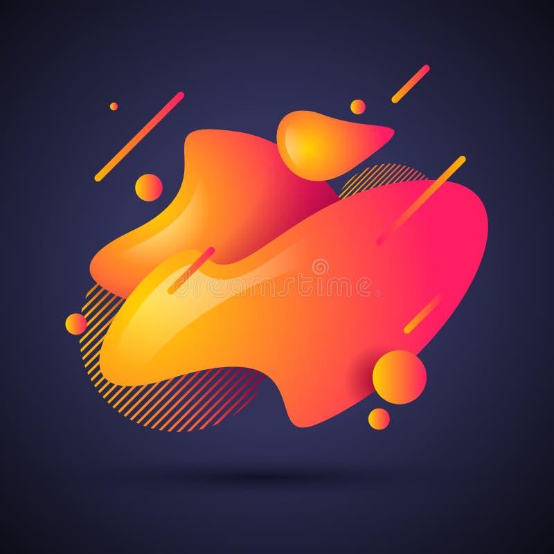 Форма конспекта иллюстрации вектора жидкостная Современные жидкие красочные волны градиента конструируют с геометрическими линиям иллюстрация вектора