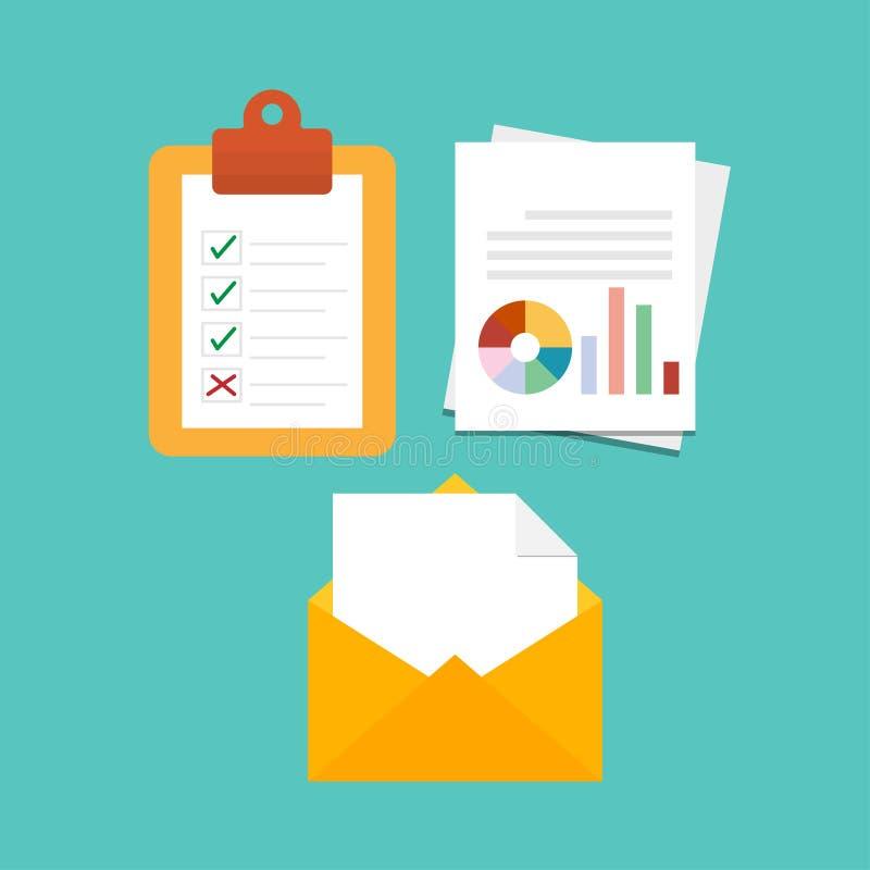 Форма контрольного списока на доске сзажимом для бумаги, диаграмме или диаграмме на белой бумаге, стиле желтой иллюстрации вектор бесплатная иллюстрация