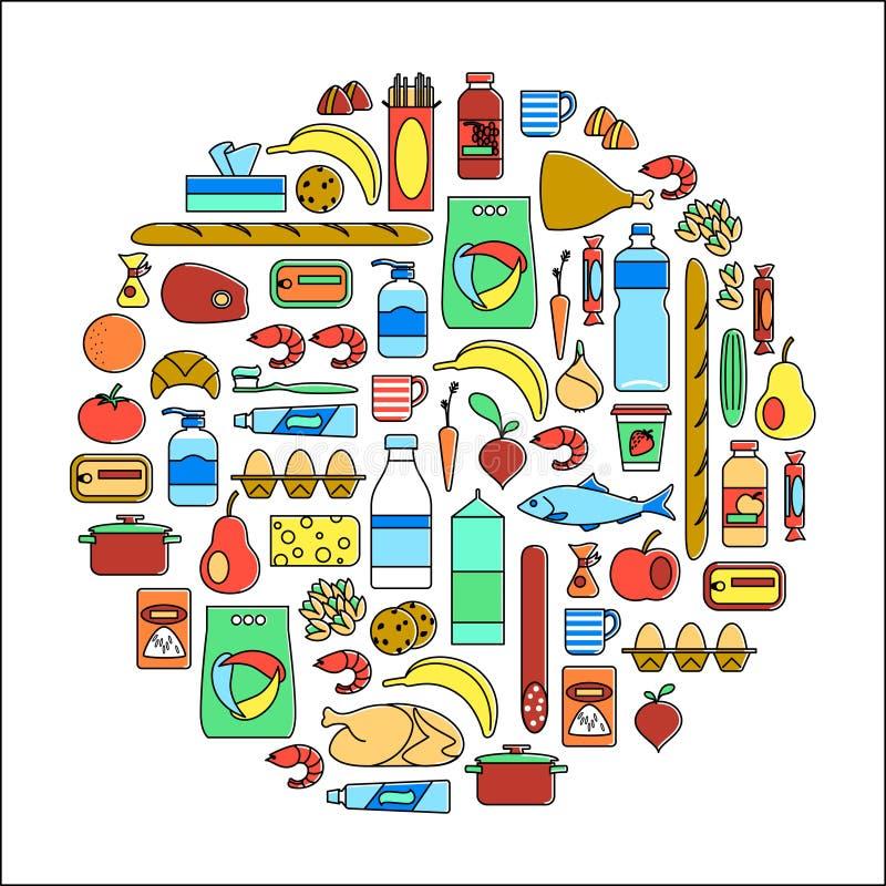 Форма круга с значками: овощи, плодоовощи, рыбы, мясо, еда молокозавода, бакалея, консервы, чистящие средства домочадца, помадки иллюстрация вектора