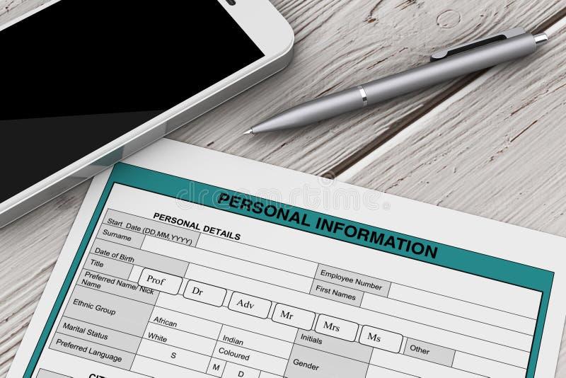 Форма персональной информации около мобильного телефона и ручки renderin 3D бесплатная иллюстрация