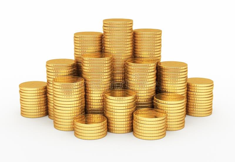 Форма пирамиды золотых монеток иллюстрация вектора