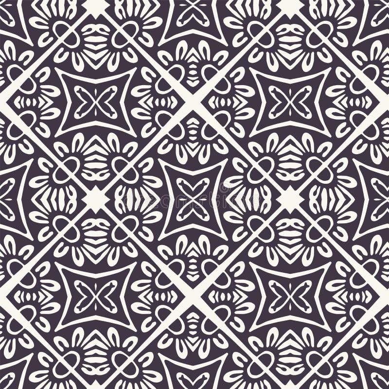 Форма плитки мозаики руки вычерченная Повторение флористической предпосылки azulejo Monochrome поверхностный образец ткани Соврем иллюстрация штока