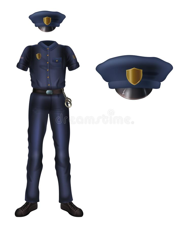 Форма полиции и крышка, костюм безопасностью полицейския бесплатная иллюстрация