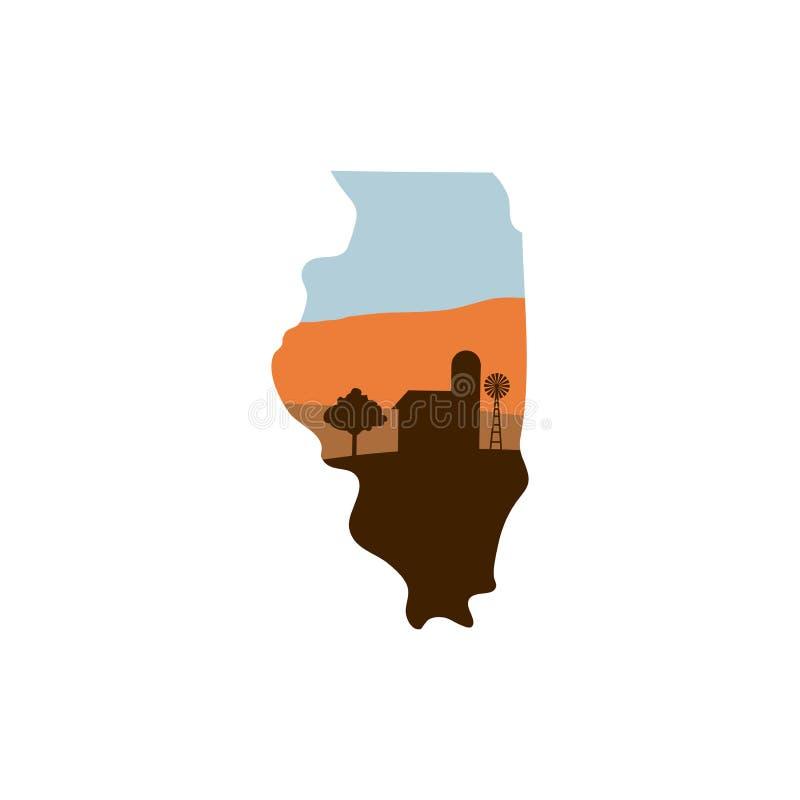 Форма положения Иллинойса с фермой на ветрянке, амбаре, и a w захода солнца бесплатная иллюстрация