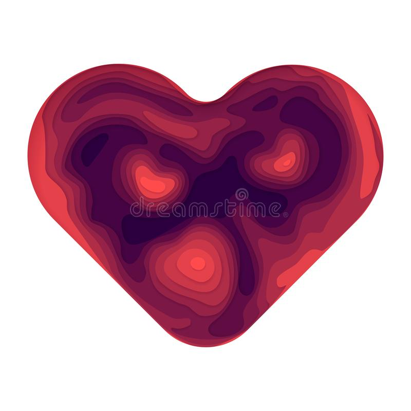 Форма сердца конспекта вектора бумажная отрезанная иллюстрация вектора