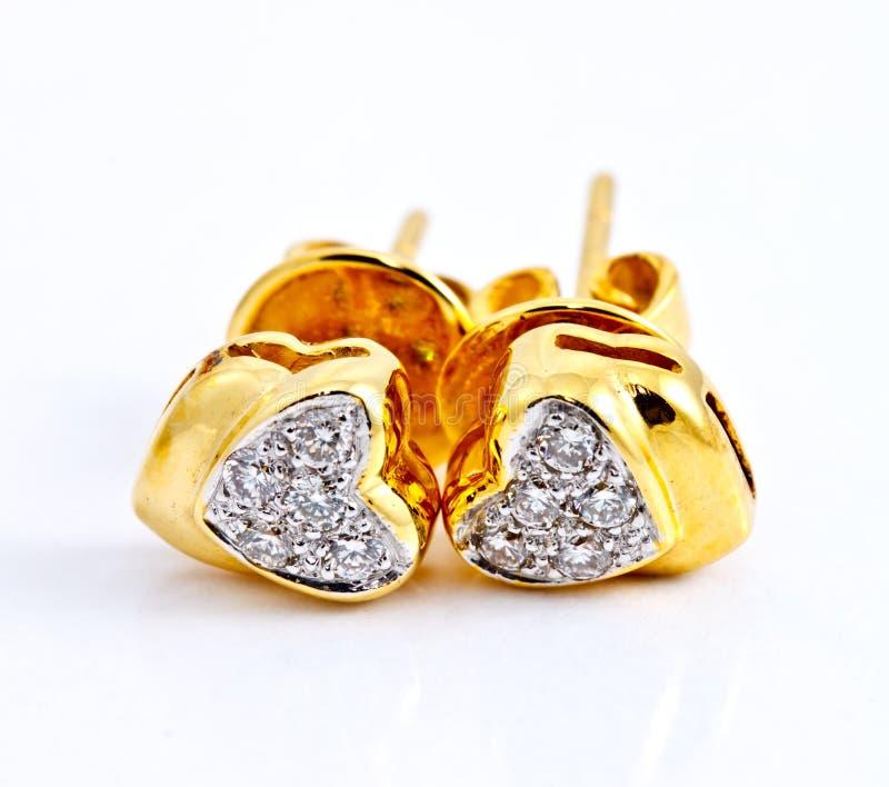 форма сердца серьги диаманта стоковое изображение rf