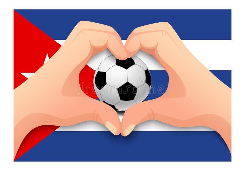 Форма сердца футбольного мяча и руки Кубы иллюстрация штока