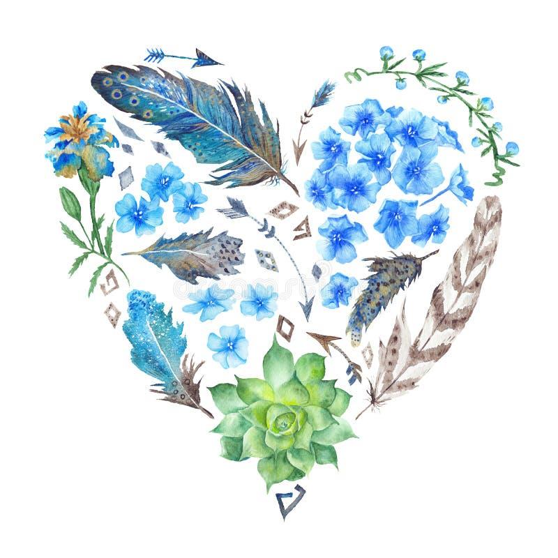 Форма сердца акварели стиля Boho иллюстрация вектора