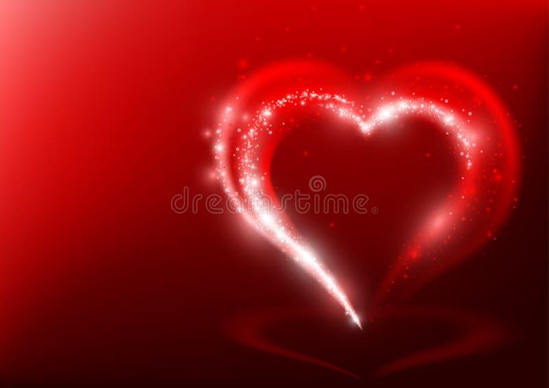 Форма сердца от световых лучей иллюстрация штока