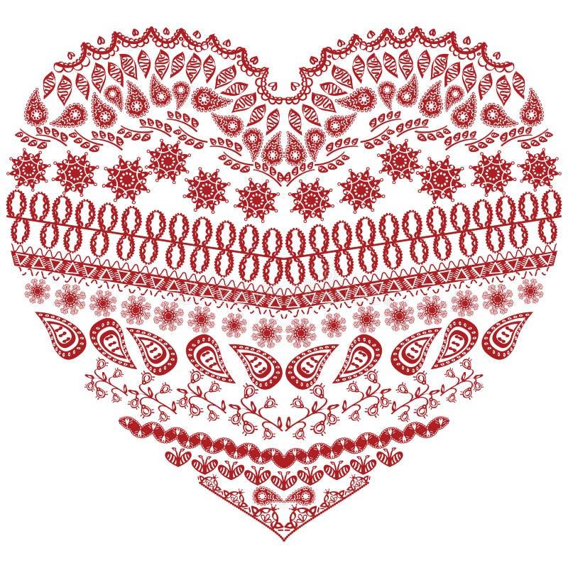Форма сердца племенного zentangle ацтекская с флористическими элементами в стиле шнурка чертежа руки орнаментальном в красном и б иллюстрация вектора