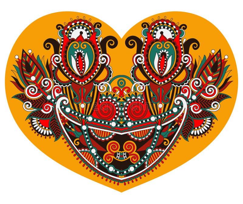 Форма сердца шнурка с этническим флористическим дизайном Пейсли для валентинки иллюстрация вектора