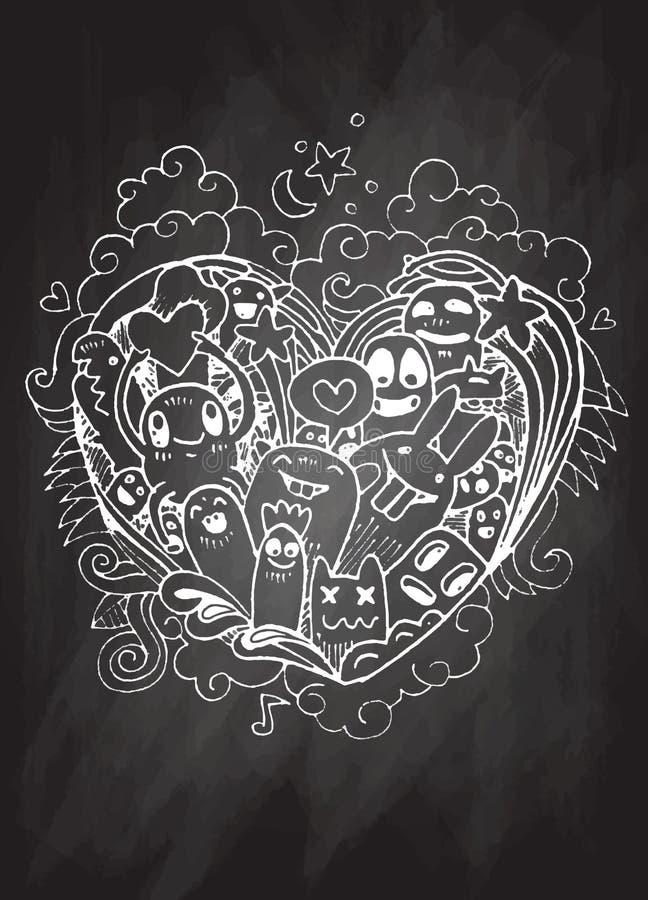 Форма сердца Doodle и эскиз извергов doodles вектор бесплатная иллюстрация
