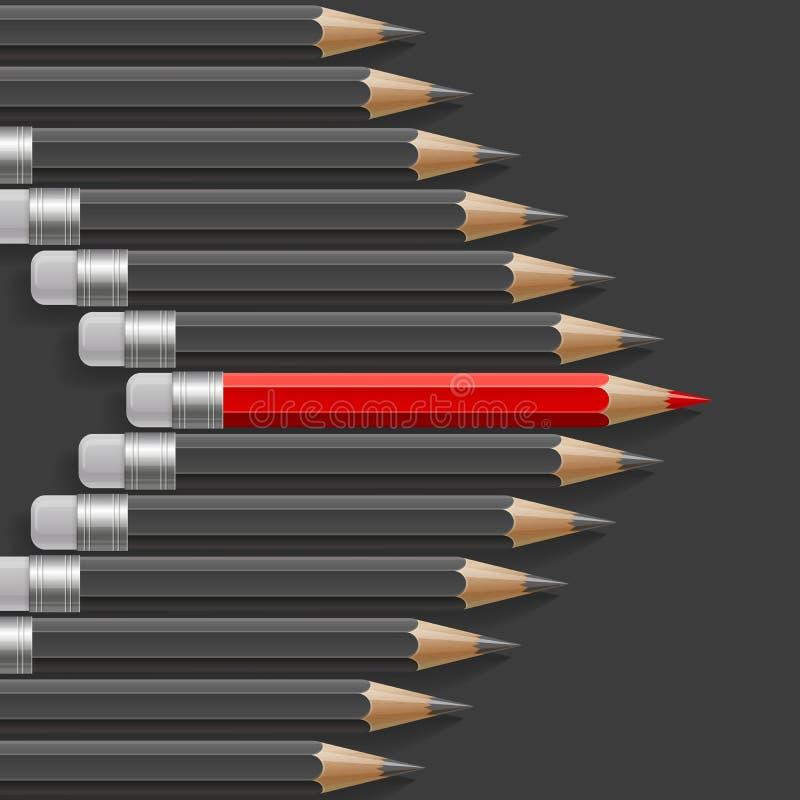 Форма стрелки темных серых карандашей с одним бесплатная иллюстрация