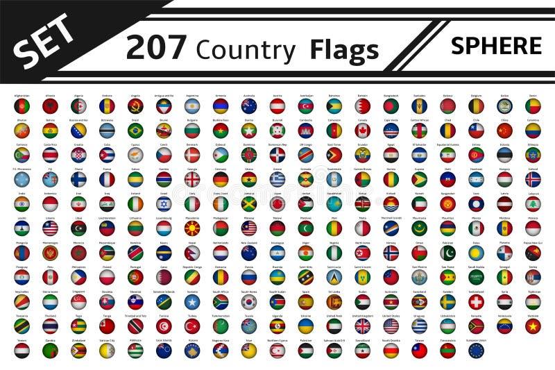 форма сферы 207 флагов стран иллюстрация вектора