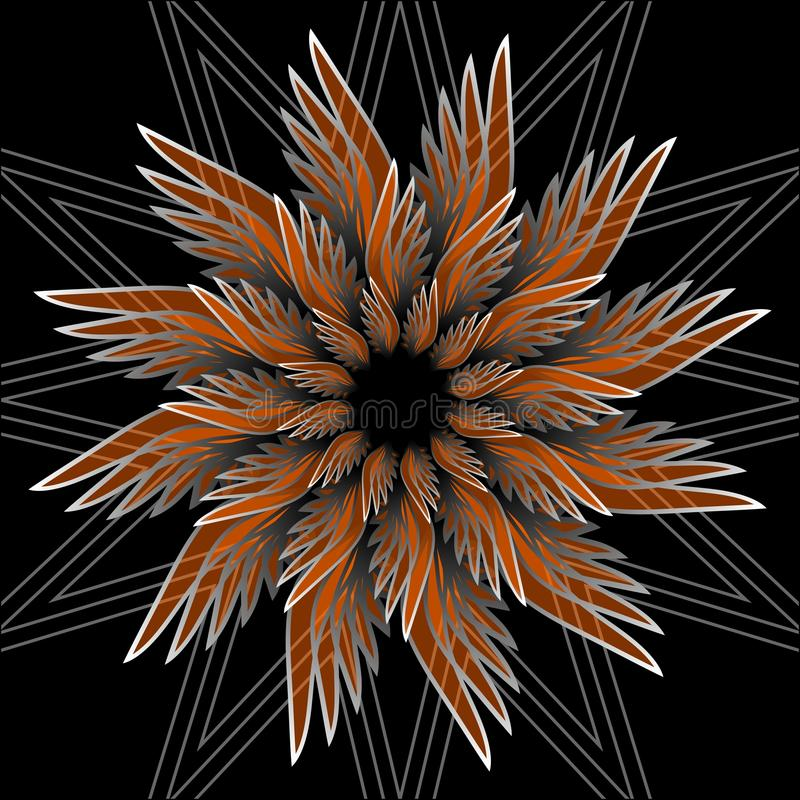 Форма цветка фантазии с влиянием 3d Оранжевая форма звезды на черной предпосылке Вектор в стиле фрактали иллюстрация штока